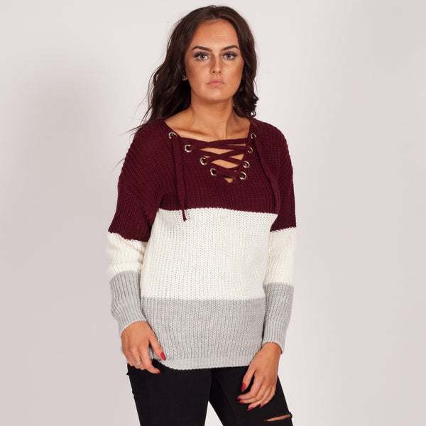 9be38a994a Love My Lace Up Knitted Jumper Wine Red 3 Tone