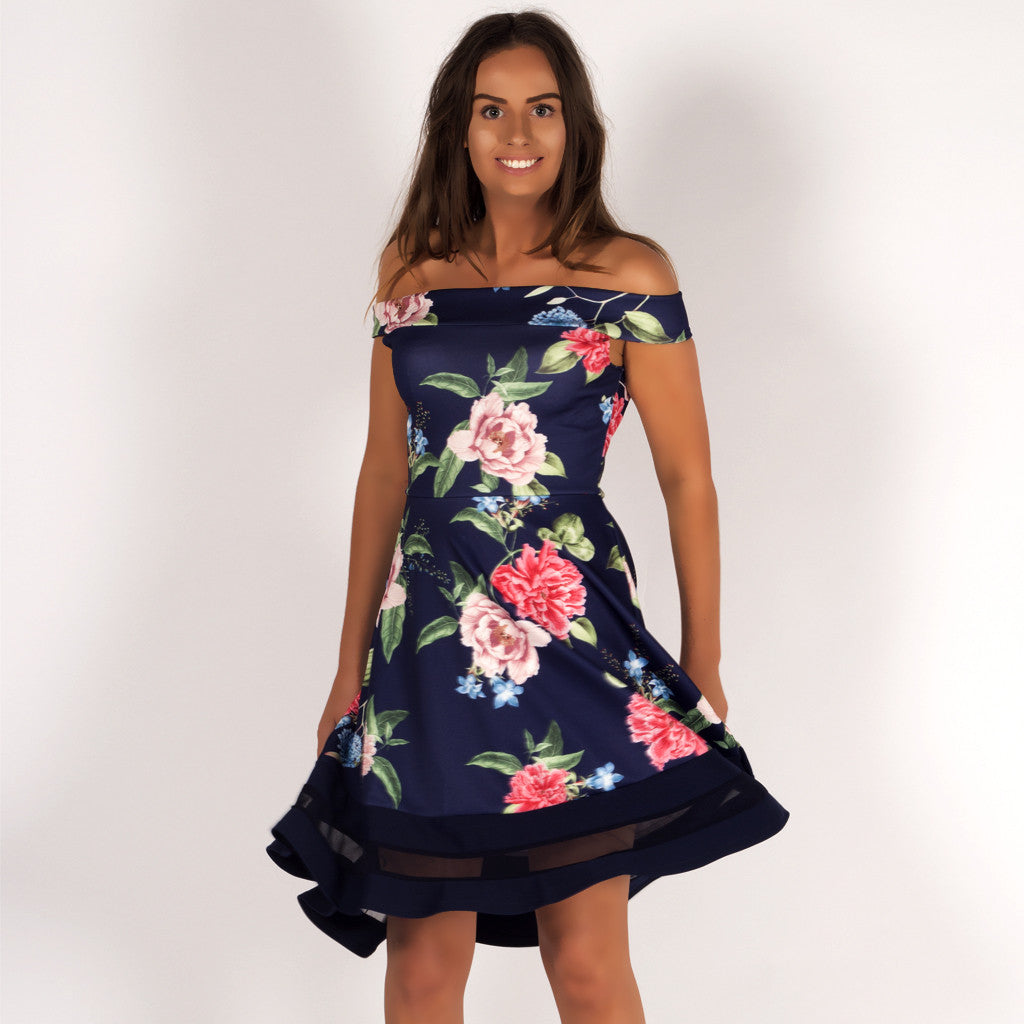 d95428d74e Sun Kissed Floral Bardot Off Shoulder Skater Dress Navy Styledup