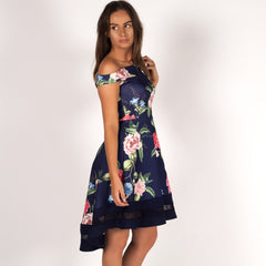 Sun Kissed Floral Bardot Off Shoulder Skater Dress Navy Styledup