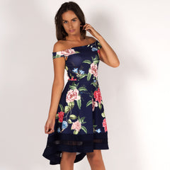Styledup Sun Kissed Floral Bardot Off Shoulder Skater Dress Navy