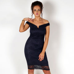 Lace Off Shoulder Bodycon Midi Dress Navy STYLEDUP