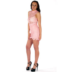 Lace Corchet Bodycon Summer Dress Pink Styledup