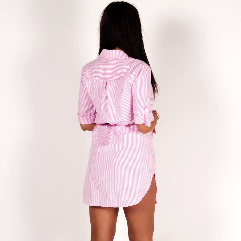 Rose embroidered striped shirt dress pink white for Pink white striped shirt