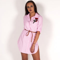 Rose Embroidered Striped Shirt Dress Pink & White Styledup