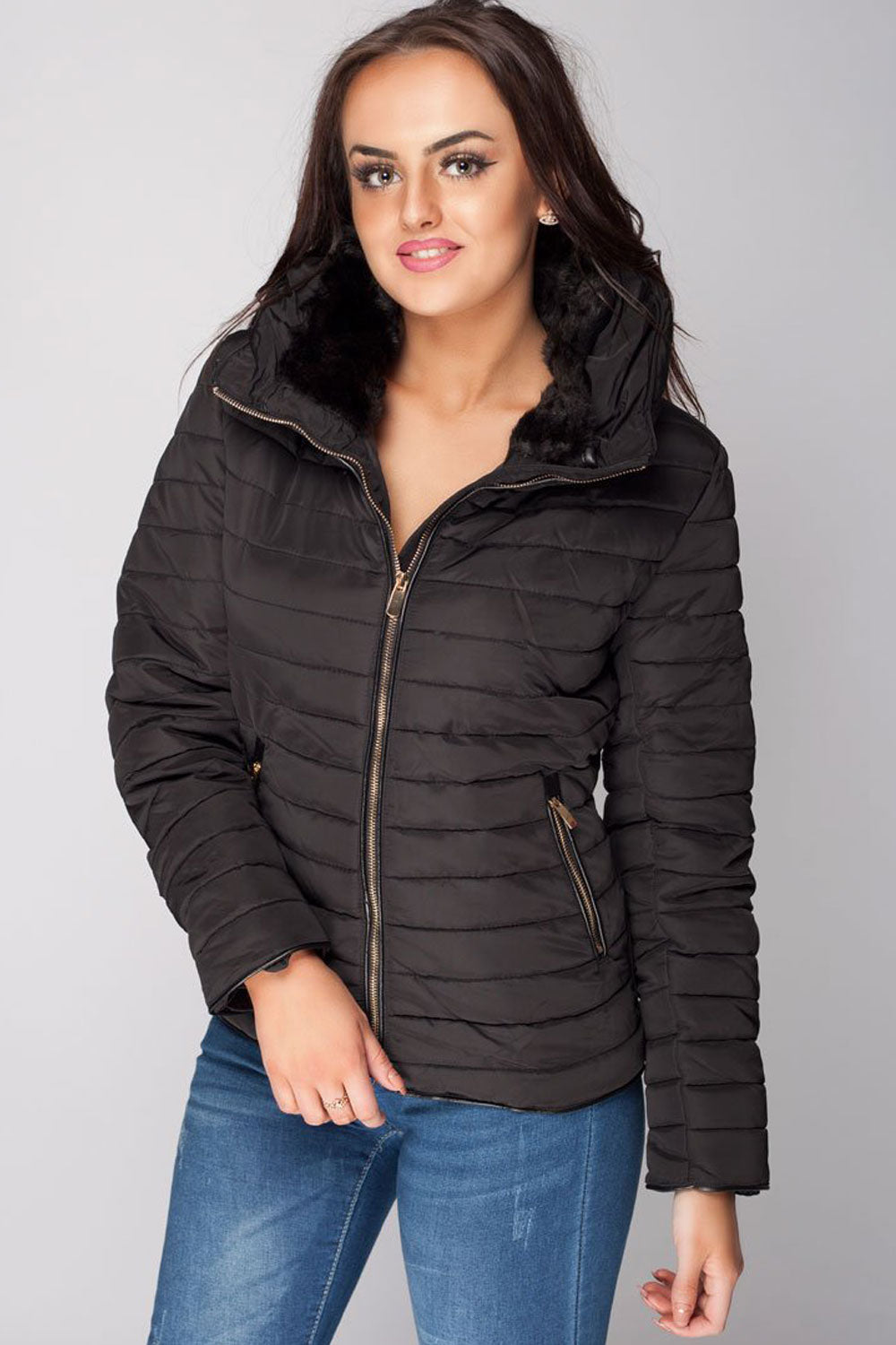 womens black zara quilted coat