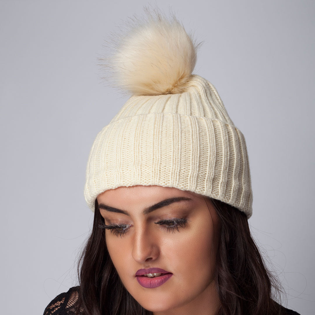 Rib Beanie With Faux Fur Pom