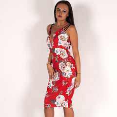 Perrie Red Floral Bodycon Midi Mini Dress Styledup