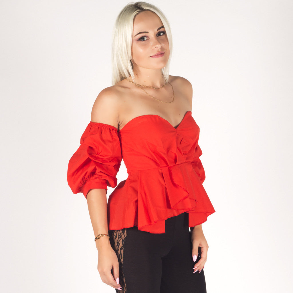 Styledup Off shoulder Red Bardot Ruffle Sleeve Top