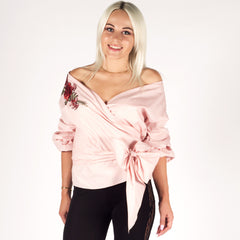 Pink Floral Rose Embroidery Wrap Shirt Top Styledup