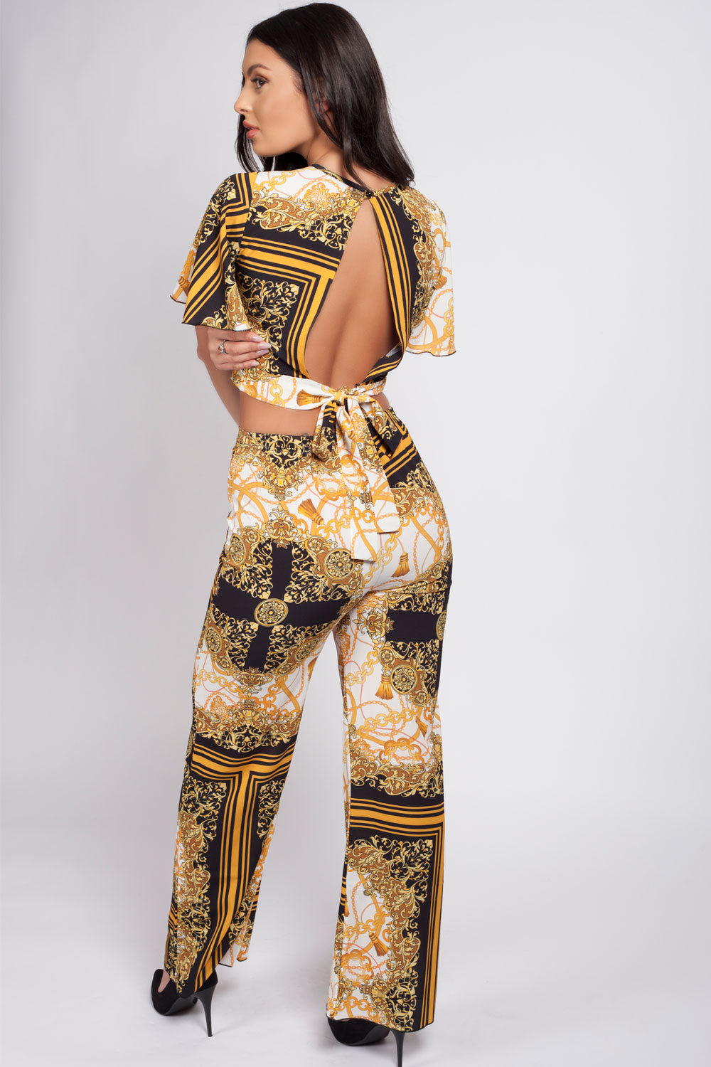 crop top trouser co ord scarf print gold