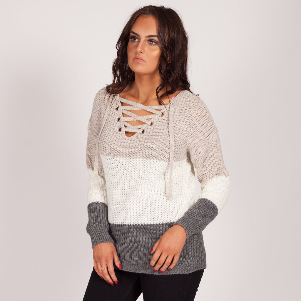 Love My Lace Up Knitted Jumper Grey 3 Tone – Styledup.co.uk e9cc346ab