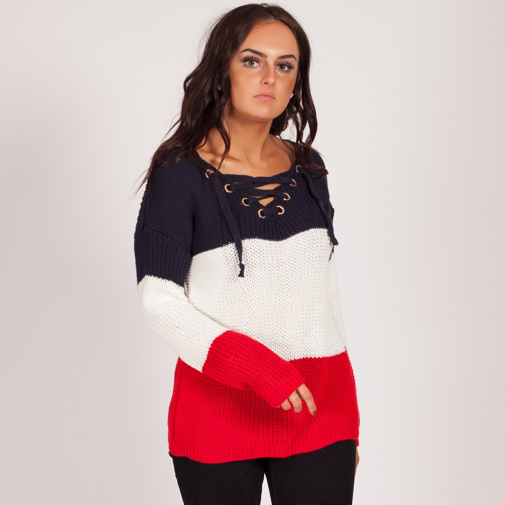 8d88e61015 Love My Lace Up Knitted Jumper Red. Winter Knitted Jumper Styledup