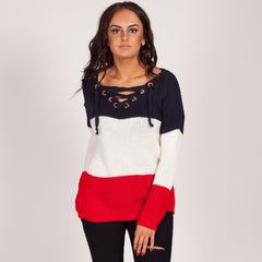 Love My Lace Up Knitted Jumper Red