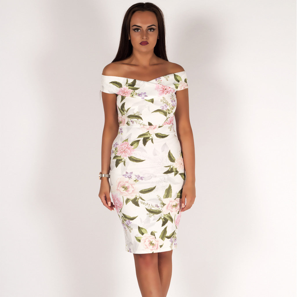 80ee0816b8c Special Occasion Floral Bardot Bodycon Midi Dress White – Styledup.co.uk