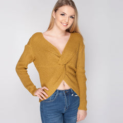 Over Sized Knot Front Jumper Mustard