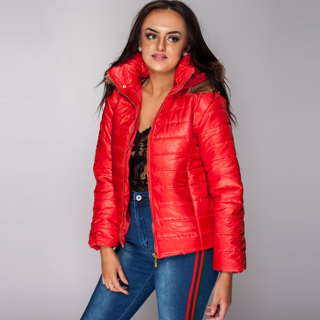 Quilted Womens Jacket Red