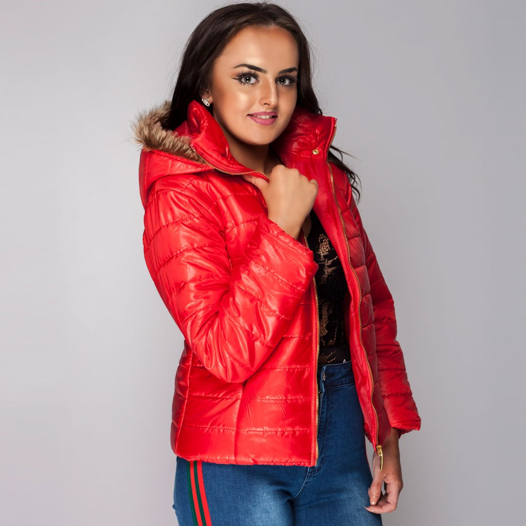 Ladies Winter Coat Jacket Red Styledup