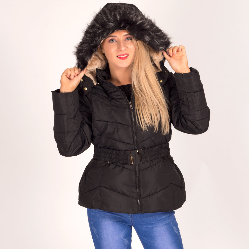 Quilted Puffer Coat With Faux Fur Trim Belt Black Styledup