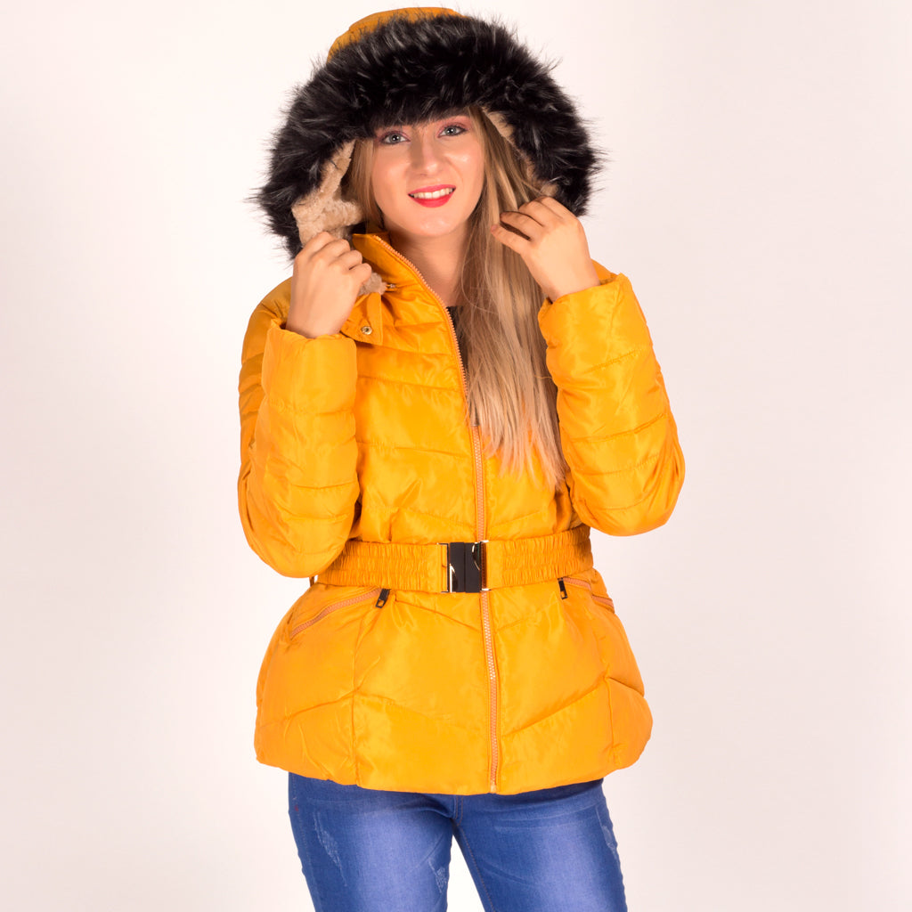 2dd60bd5 Mustard Faux Fur Hooded Padded Coat With Belt – Styledup.co.uk