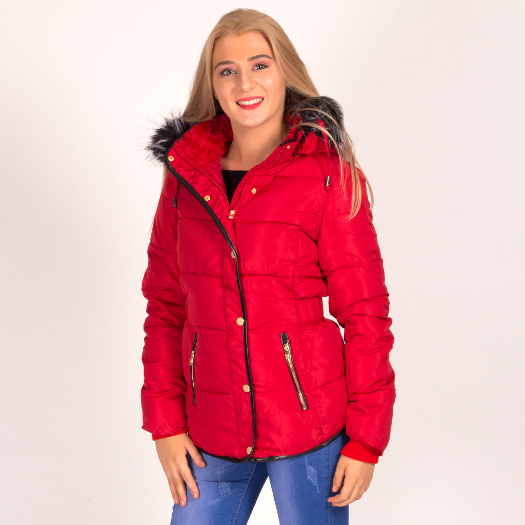 Ladies Red Faux Fur Hooded Parka Coat