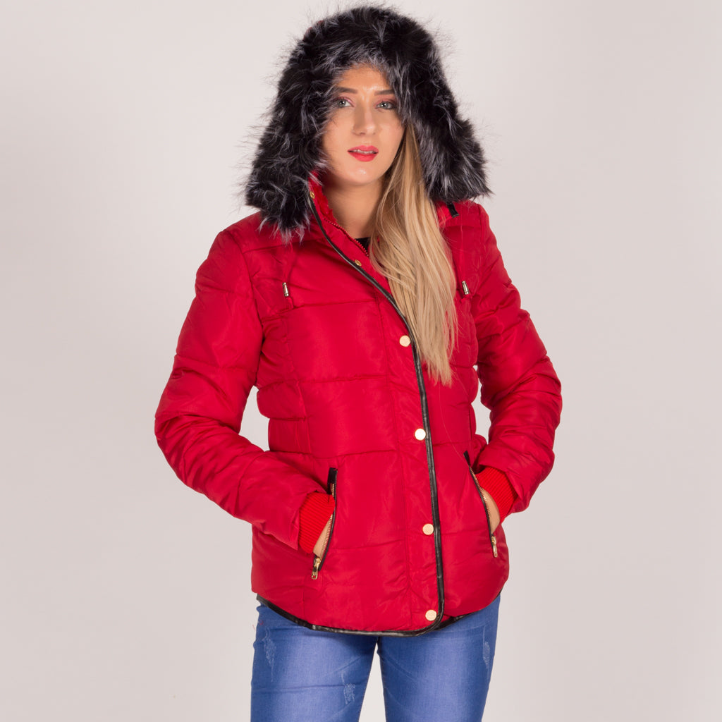 Red Faux Fur Hooded Parka Slim Fit