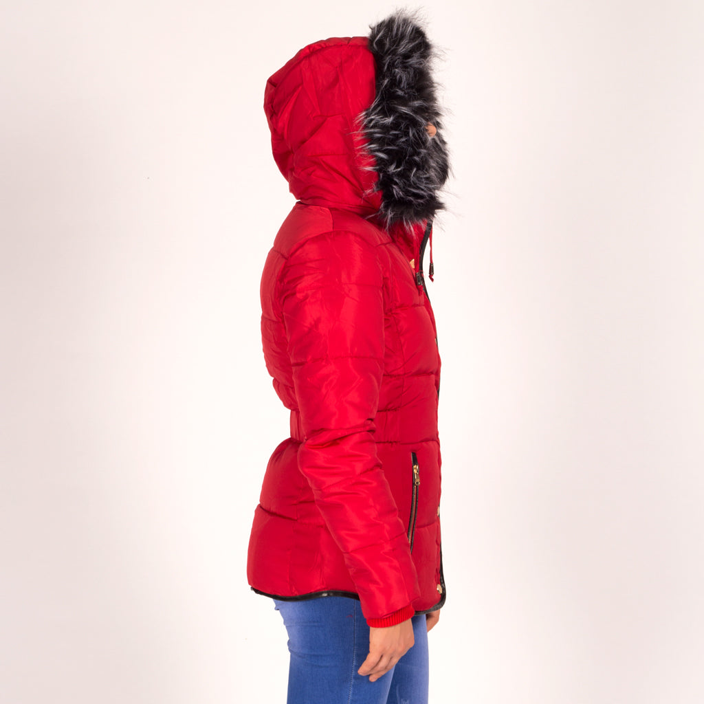 Womens Red Faux Fur Hooded Parka Coat