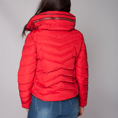 Womens Padded Puffer Coat Jacket Short Red Styledup