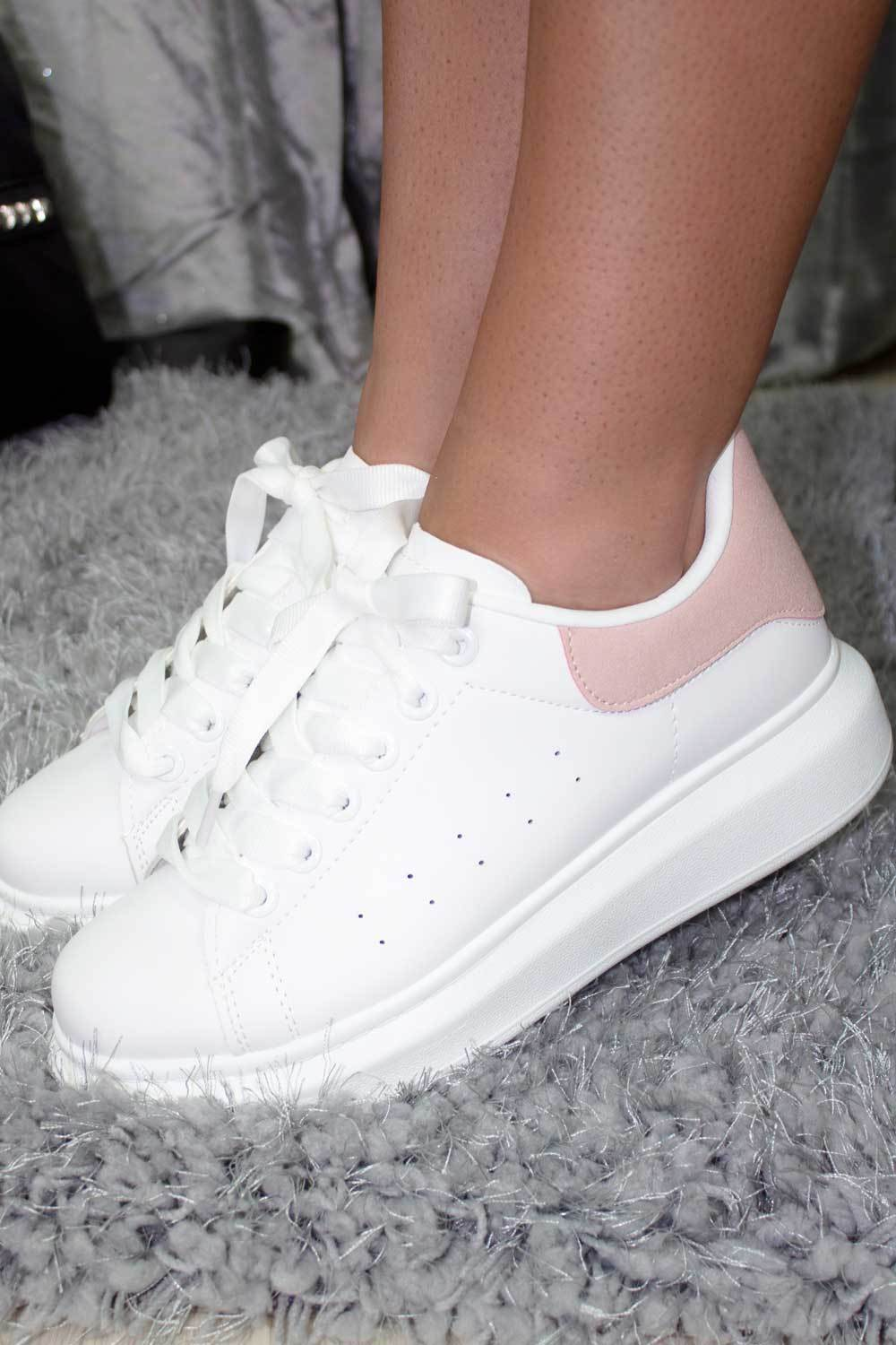 Designer Inspired White Slip On Platform Trainers