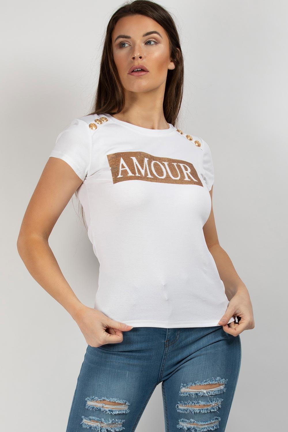 gold sequin amour slogan t shirt white