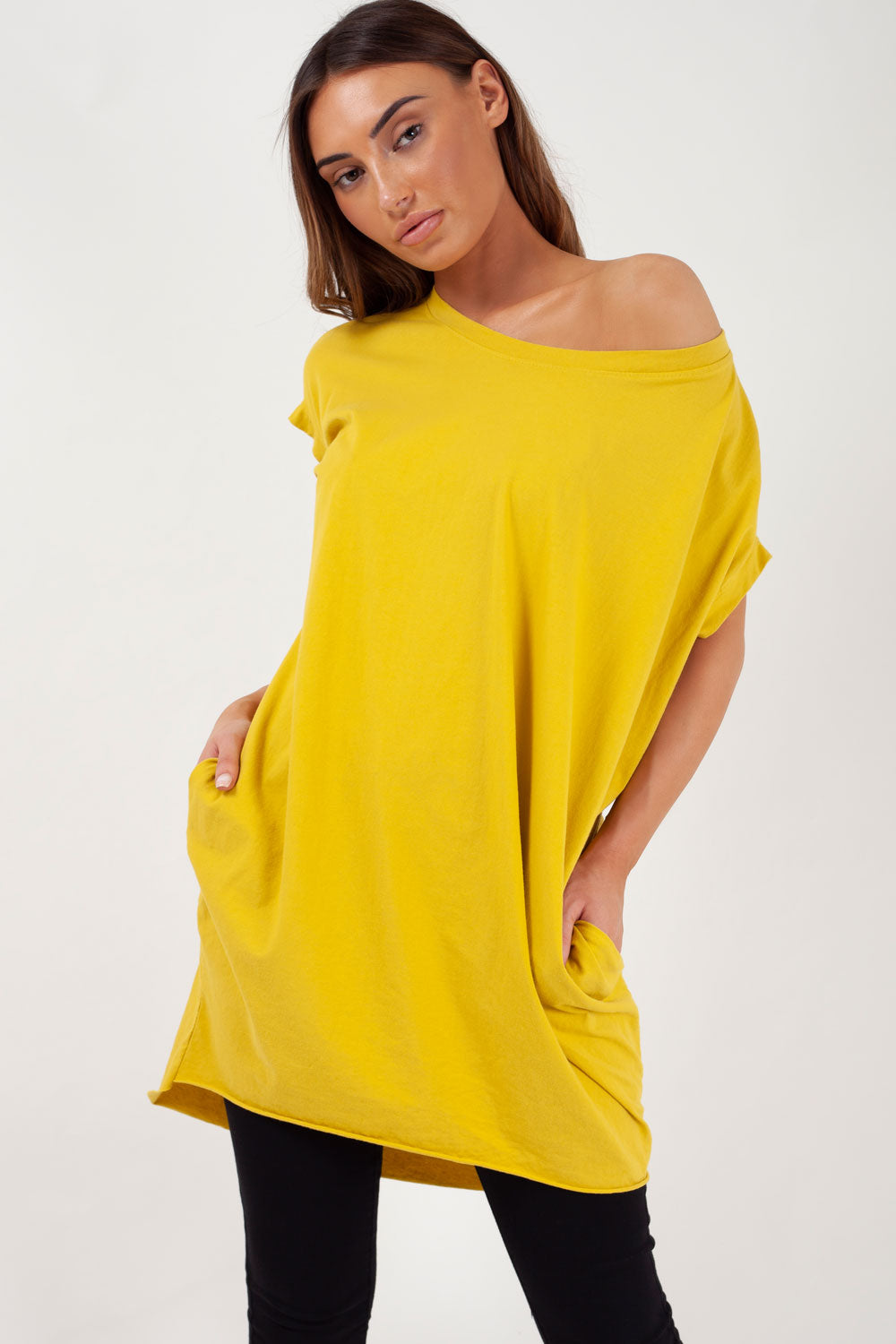 womens mustard oversized top