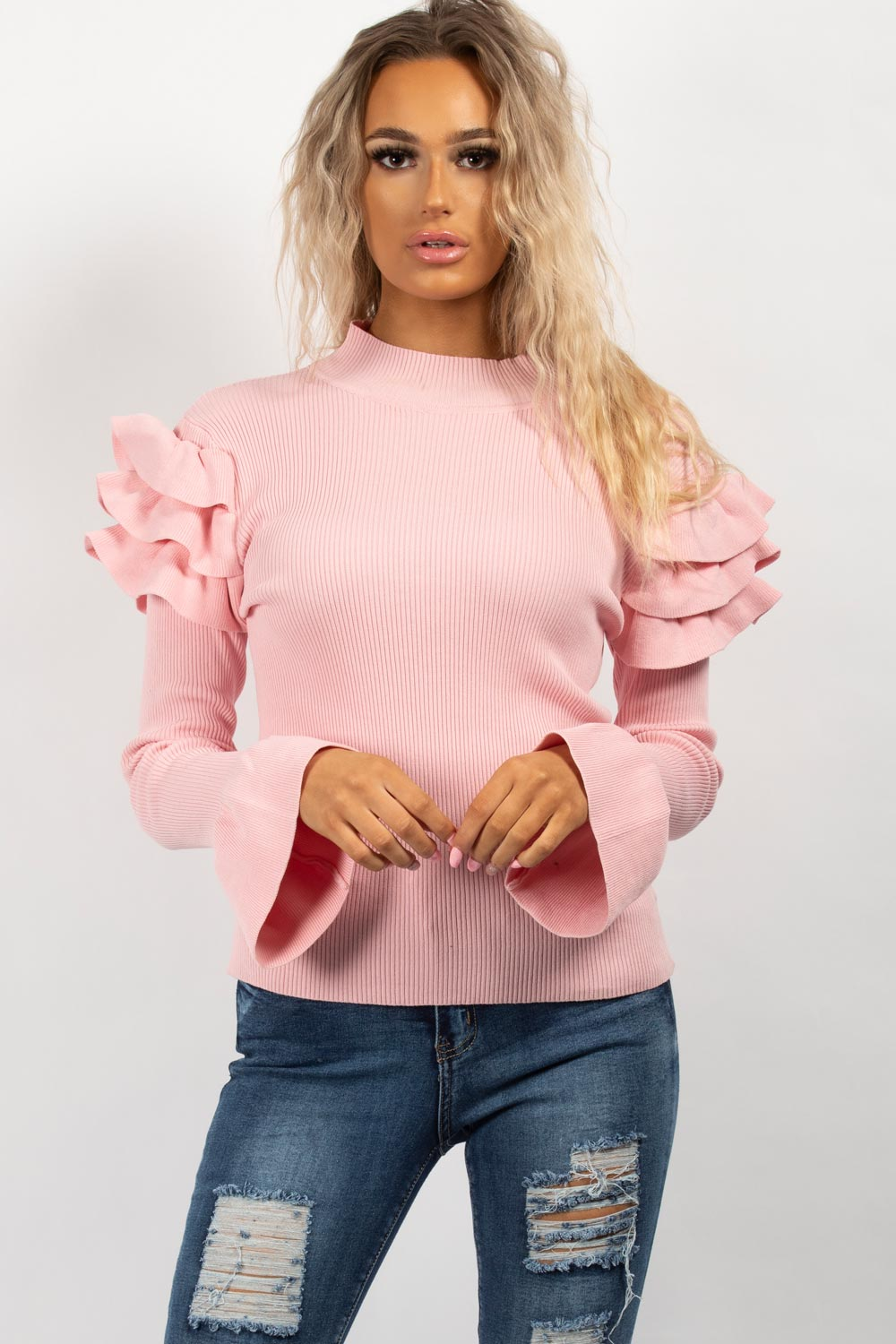 frill detail long sleeve ribbed jumper