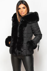 faux fur hood puffer coat black