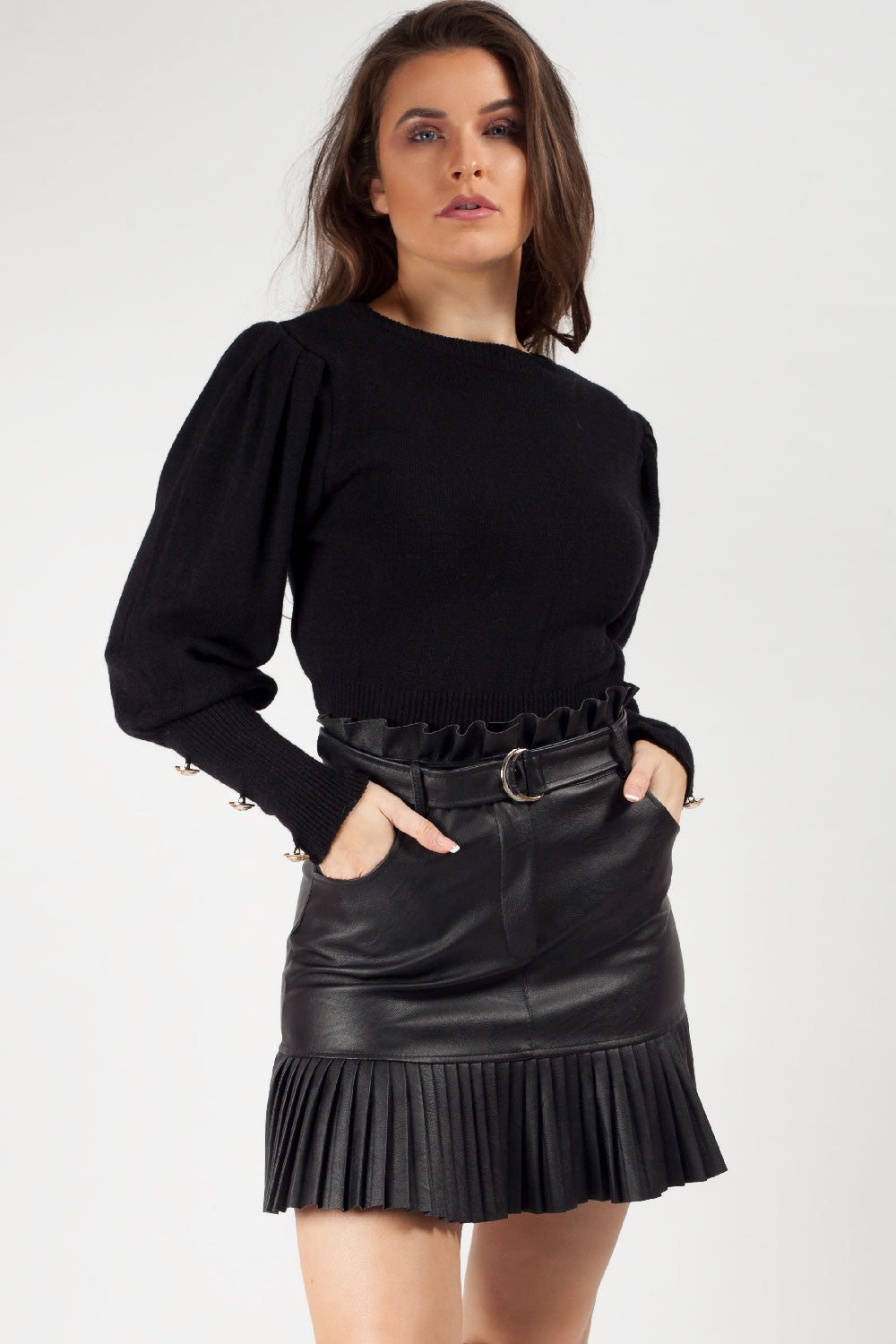 puff sleeve jumper black