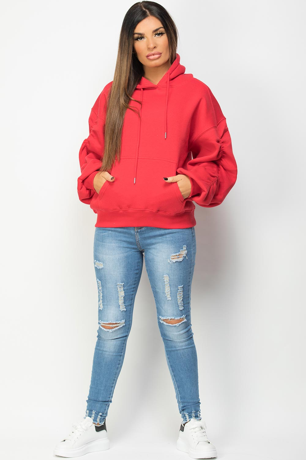 womens red oversized ruched sleeve hoodie uk