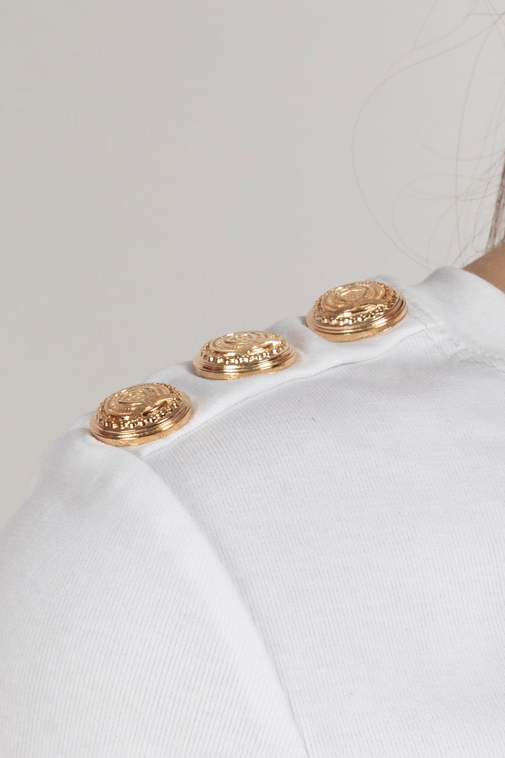 gold button balmain inspired t shirt