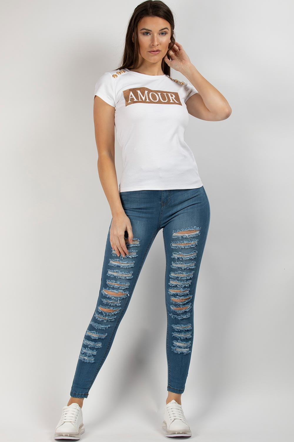 amour slogan t shirt white