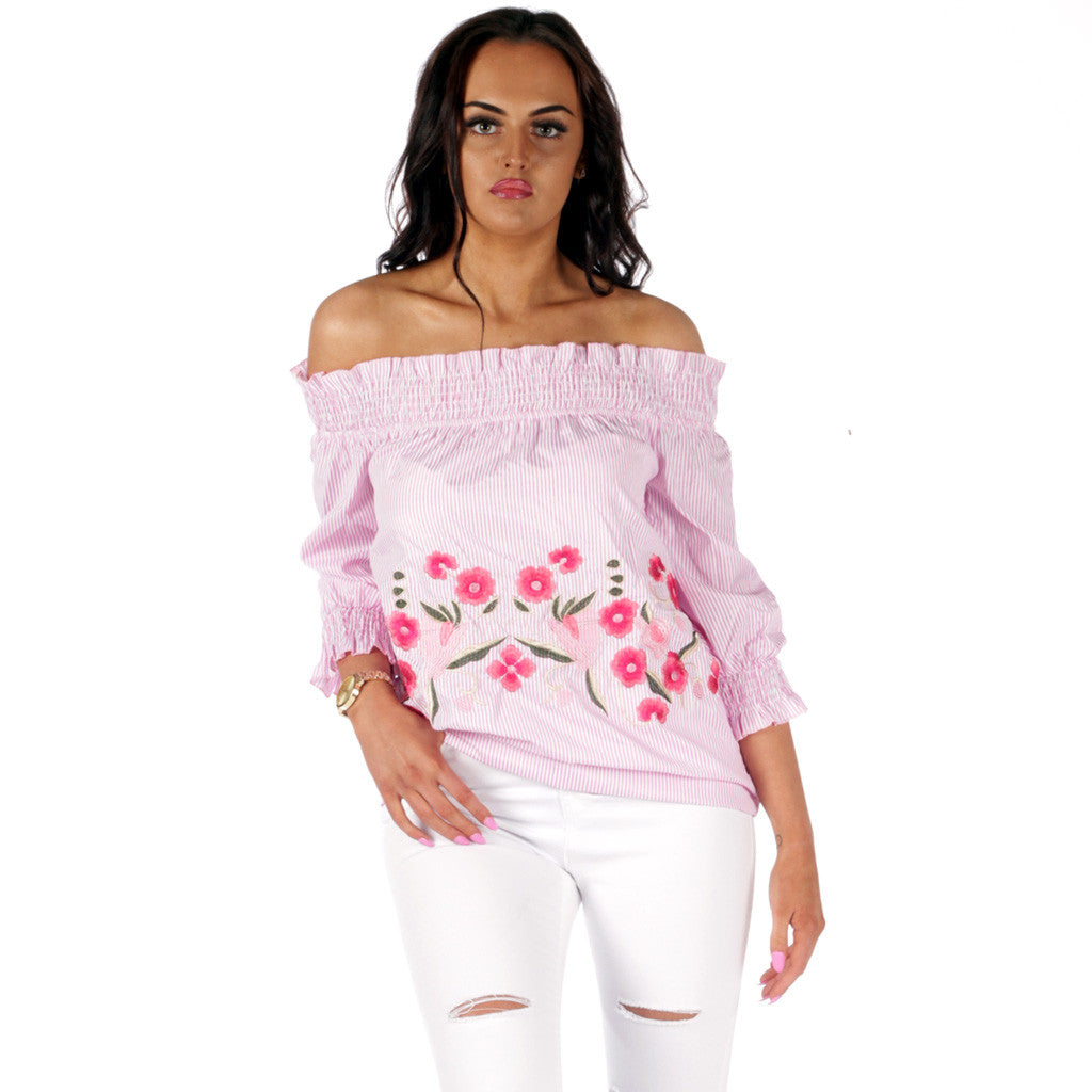 8206e76c Kaitiln Bardot FLoral Embroidered Striped Top Pink – Styledup.co.uk