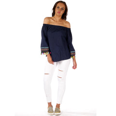 Off Shoulder Long Sleeve Festival Top Navy Styledup