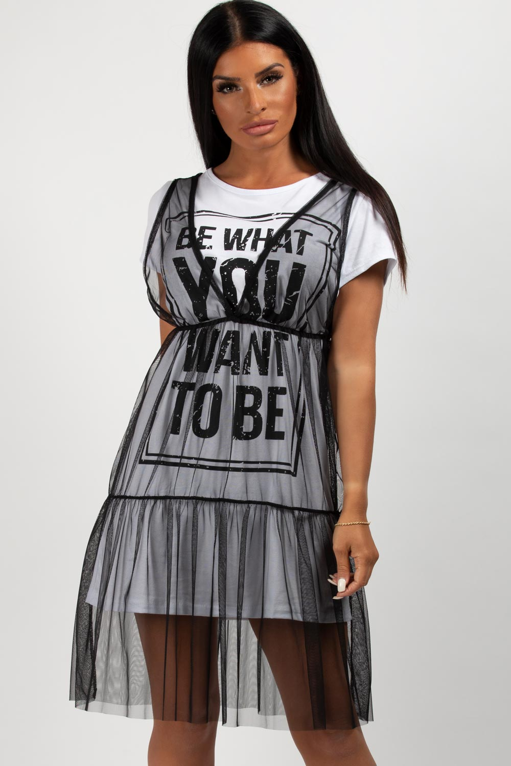Be What You Want To Be Slogan T-Shirt Dress