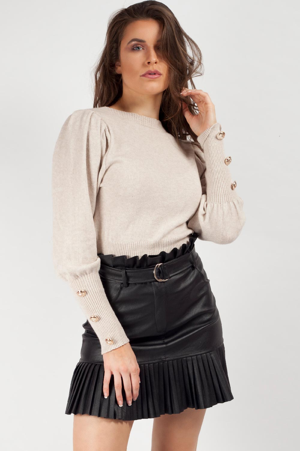beige puff sleeve jumper
