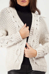 short cropped cardigan cable knit