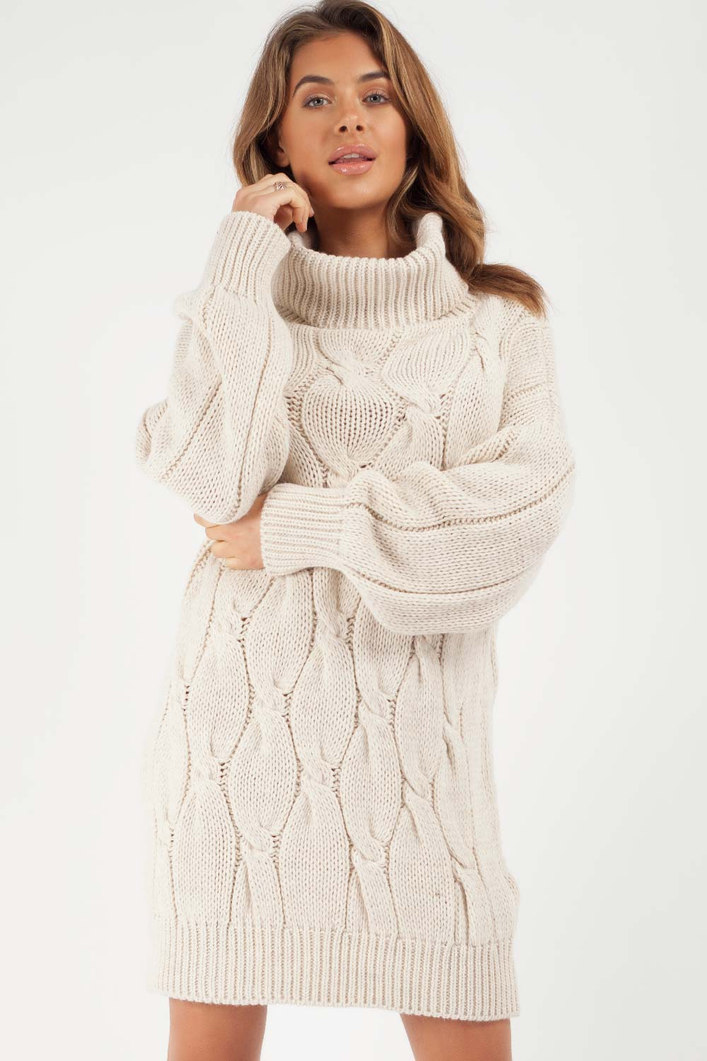 cowl neck jumper dress beige