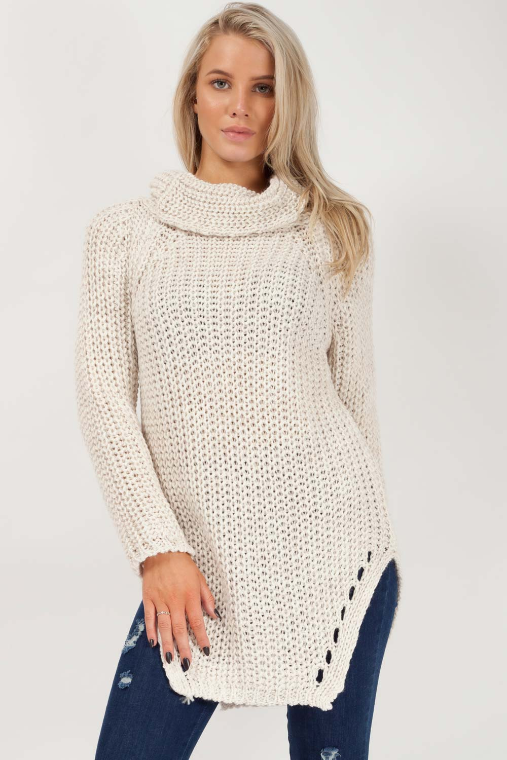 outlet on sale low priced how to buy Chunky Roll Neck Long Jumper Beige