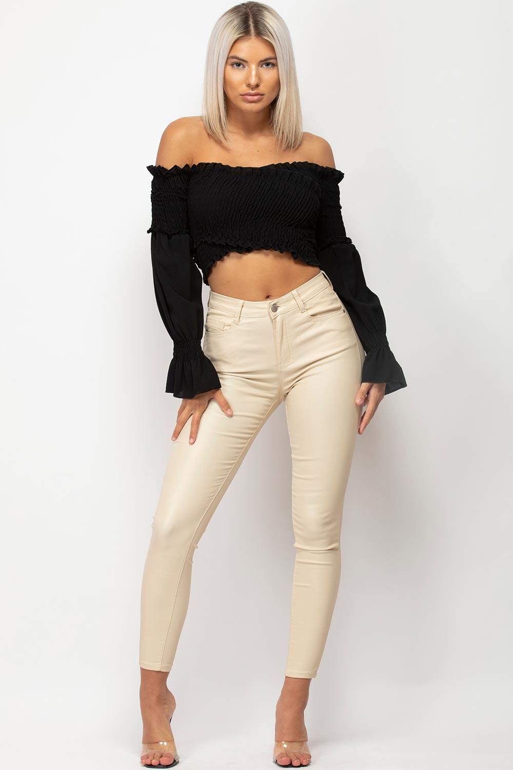 black off shoulder long sleeve crop top
