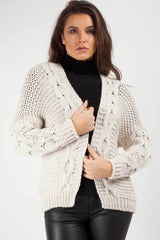 cable knit cropped cardigan beige