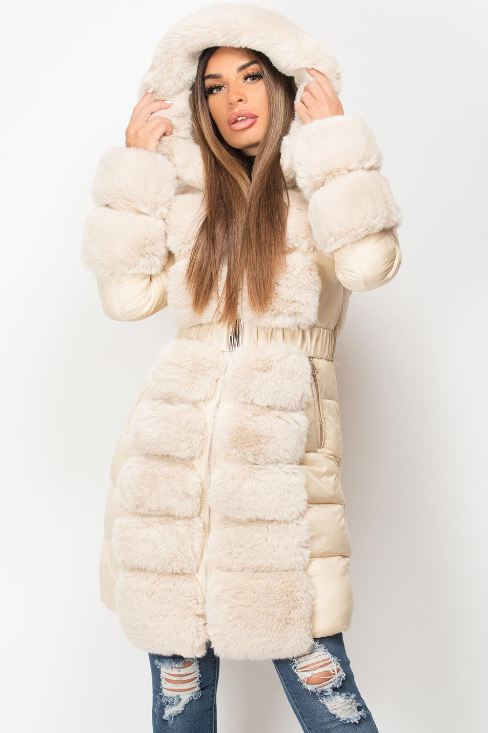 beige faux fur trim belted puffer coat styledup fashion