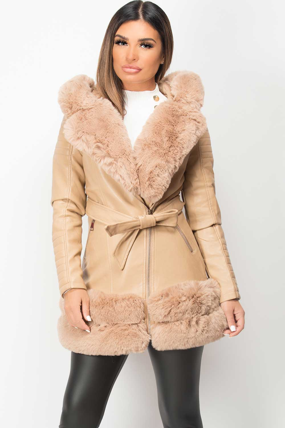 faux fur hooded aviator jacket beige