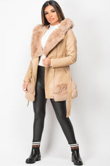 faux fur faux leather jacket beige