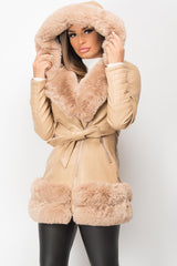 faux fur hooded pu leather jacket womens