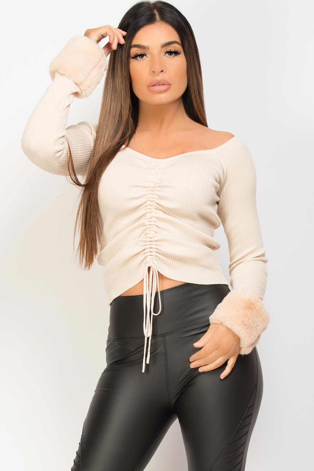 Beige Faux Fur Cuff Ruched Front Knitted Jumper